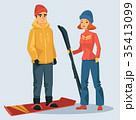 スキー スキーヤー 人々のイラスト 35413099