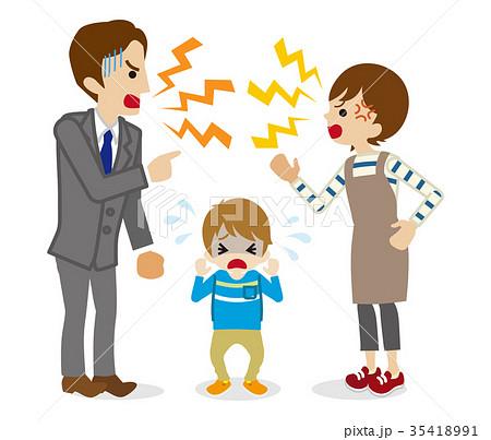 ケンカする両親と泣く子供 35418991