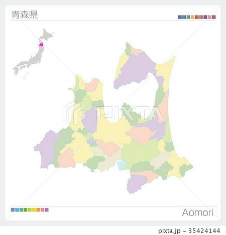 青森県の地図(市町村別・色分け) 35424144