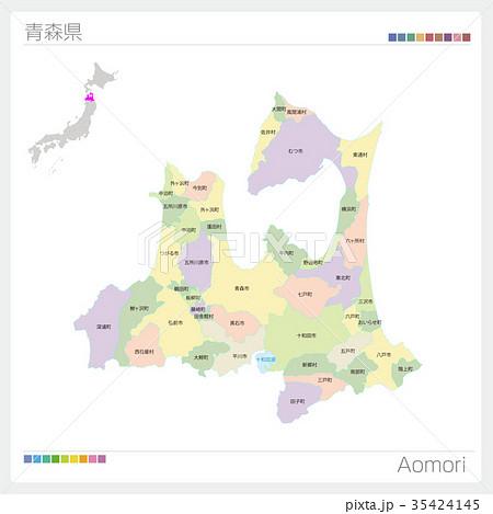 青森県の地図(市町村別・色分け) 35424145