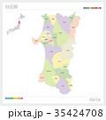 秋田県の地図(市町村・色分け) 35424708