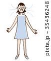呼吸 深呼吸 女性のイラスト 35436248