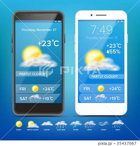 Weather Forecast App Vector. Realistic Smartphone 35437067