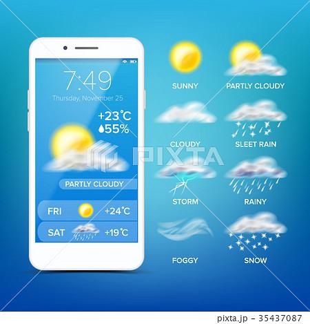 Weather Forecast App Vector. Realistic Smartphone 35437087