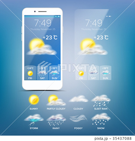 weather forecast app vector blue backgroundのイラスト素材 35437088