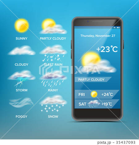 Weather Forecast App Vector. Good For Use In 35437093