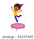 Black boy jumping on trampoline at birthday party 35437400