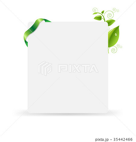 Blank gift tag with green leaves 35442466 pixta blank gift tag with green leaves negle Images