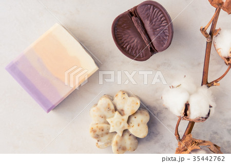 Spa beauty soap on marble tableの写真素材 [35442762] - PIXTA