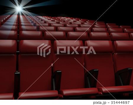 Empty  red seats  in cinema,3d rendering 35444697