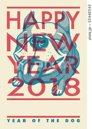 2018年賀状テンプレート_フレンチブルドッグ_HNY_添え書きスペース空き