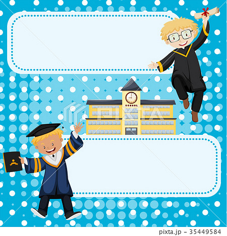 banner template with kids in graduation gownsのイラスト素材