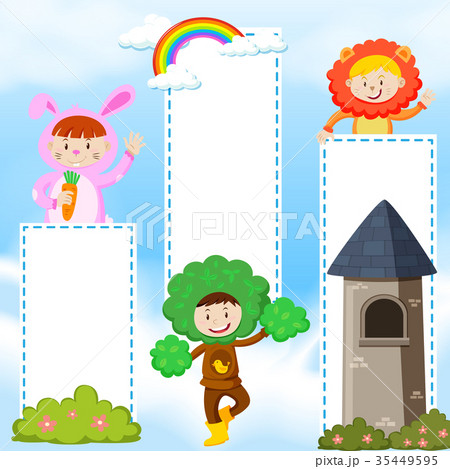 banner template with kids in costumeのイラスト素材 35449595 pixta