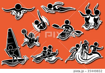 Sport icons for water sports 35449832