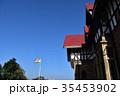 インド シムラーの美しい街並みと青空とインド国旗 35453902