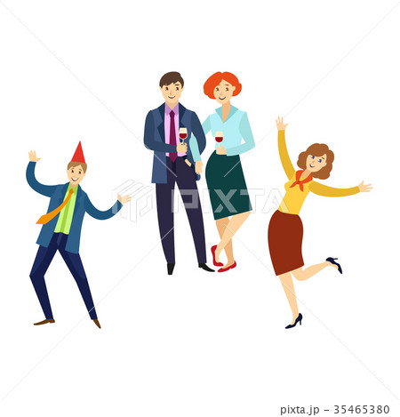 people having fun at corporate party in officeのイラスト素材