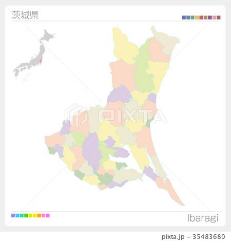 茨城県の地図(市町村・色分け) 35483680