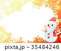 雪の結晶フォトフレームよこ(サンタ雪だるまオレンジ) 35484246