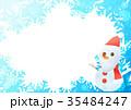 雪の結晶フォトフレームよこ(サンタ雪だるまブルー) 35484247