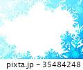 雪の結晶フォトフレームよこ(ブルー) 35484248