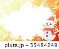 雪の結晶フォトフレームよこ(雪だるまオレンジ) 35484249