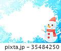 雪の結晶フォトフレームよこ(雪だるまブルー) 35484250