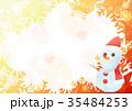 雪の結晶背景よこ(サンタ雪だるまオレンジ) 35484253
