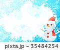 雪の結晶背景よこ(サンタ雪だるまブルー) 35484254