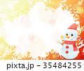雪の結晶背景よこ(雪だるまオレンジ) 35484255