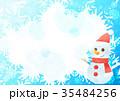 雪の結晶背景よこ(雪だるまブルー) 35484256