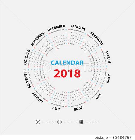 2018 Calendar Template.Calendar for 2018 year. 35484767