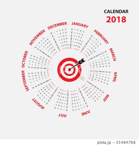 2018 Calendar Template.Calendar for 2018 year. 35484768