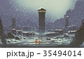 the abandoned prison in winter 35494014