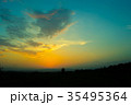 Sunset / sunrise with clouds, light rays  35495364