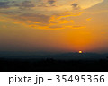 Sunset / sunrise with clouds, light rays 35495366