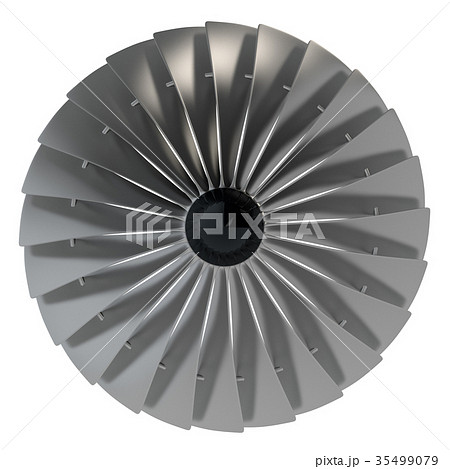 jet engine turbine blades of airplane 3d renderのイラスト素材