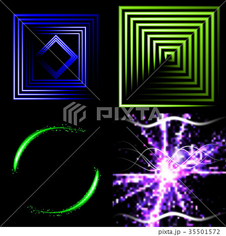 Set of Blurry abstract lines. Light effect. Sparkl 35501572