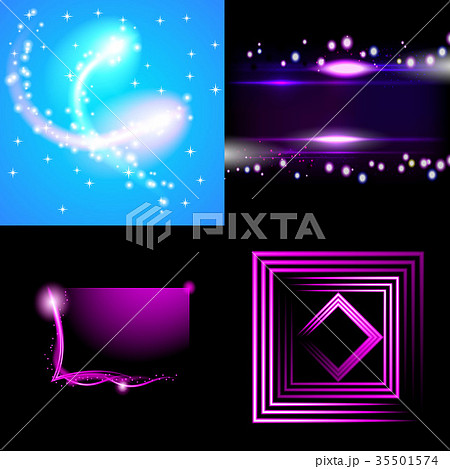 Set of Blurry abstract lines. Light effect. Sparkl 35501574