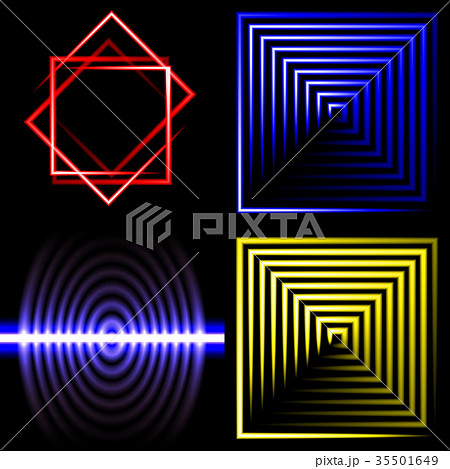 Set of Blurry abstract lines. Light effect. Sparkl 35501649