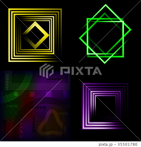 Set of Beautifully glowing neon abstract backgroun 35501780