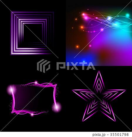 Set of Beautifully glowing neon abstract backgroun 35501798