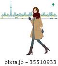 歩く 女性 イラスト 秋 冬 35510933