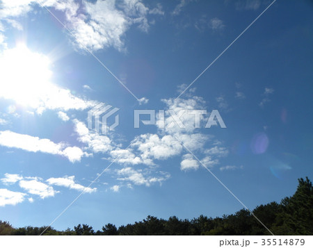 秋の稲毛海浜公園の青空と白い雲 35514879