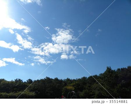 秋の稲毛海浜公園の青空と白い雲 35514881