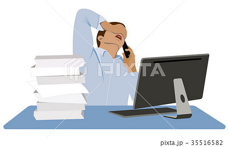 Businessman in panic. Bad news. 35516582