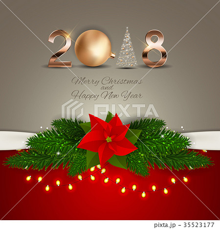 2018 New Year Background with Christmas Ball 35523177