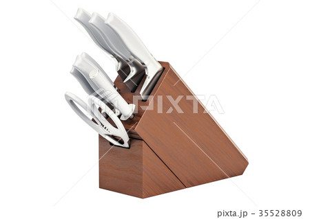 Kitchen knives with wooden block 35528809