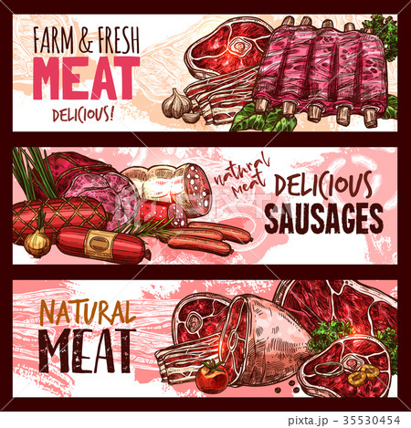 Vector sketch butchery shop meat product banners 35530454