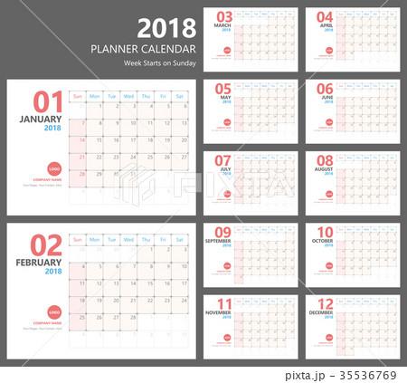 calendar 2018 planner vector design 35536769