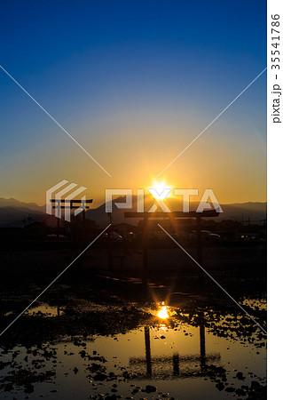 海中鳥居の夕陽 佐賀県 太良町 35541786
